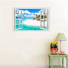 Amtoodopin 3d Beach Seascape Fake Windows Wall Stickers Removable Faux Walldecals Com