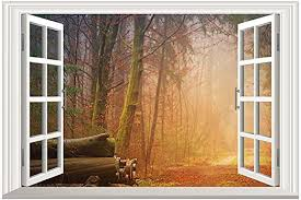 Amazon Com Home Find Large Forest Window Decal Faux Window Wall Decal Fake Window Wall Stickers Removable Frame Decals Self Adhesive Window Murals Large Vinyl Window View Mural 23 X 15 Inches Home