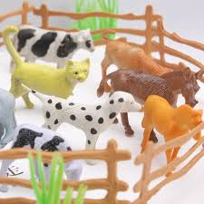 Kids Diy Toy Plastic Farm Animals Toys Farm Poultry Feed Fence Simulation Model Animal Toy Children Diy Educational Toy Gift 15pcs Set Home