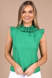 Adeline Green Sleeveless Frill Top   Frill tops, Cute summer tops, Fashion