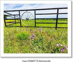 Wagon Wheel Fence And Texas Wildflowers Art Print Barewalls Posters Prints Bwc32889776