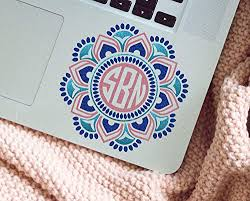 Amazon Com Mandala Monogram Laptop Decal Three Color Boho Sticker For Computer Your Choice Of Size And Colors Handmade