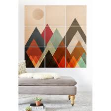 Deny Designs Geometric Mountains Wood Wall Mural 9 Squares Brown Overstock Com Shopping The Best Deals On Wood Wall Art 31070115