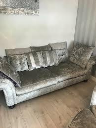 grey crushed velvet sofa in