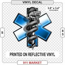 Star Of Life Reflective Decal Emt Paramedic Ambulance Car Truck Sticker S 85 For Sale Online Ebay