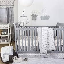 grey and white baby crib bedding