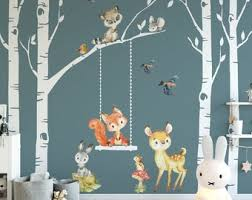 Woodland Nursery Wall Decal Etsy