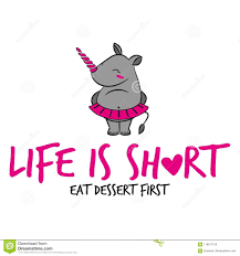 life is short eat dessert first` stock vector illustration of