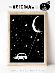 The Moon And Car Print For Boys Room Decor In Black And White Etsy Space Wall Art Moon Wall Art Wall Art Prints