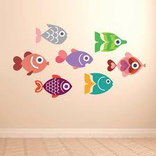 Colorful Fish Wall Decal Removable Easy Application