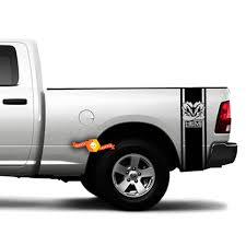 Dodge Ram Hemi Powered Muscle Rear Bed Vinyl Decal 2 Stripes Truck Graphics