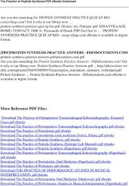 the practice of peptide synthesis pdf