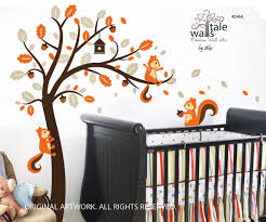 Deer And Tree Wall Decals For Nursery Baby Bunting Elephant Mural Design Print Floral Forest Vamosrayos