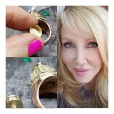 Wendy Griffin Jewelry - Here,In my studio working on a custom yellow gold  and rose gold ring. It is a memorial ring one of my lovely patrons  commissioned me to design and