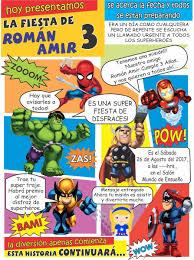 Invitacion Cumpleanos Super Heroes Editable 90 00 En Mercado