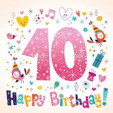 Happy Birthday 10 Years Kids Greeting Card Feliz Cumpleanos Nina