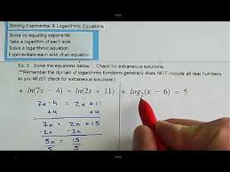 solving logarithmic equations and