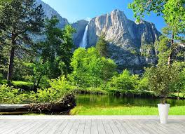 Upper Yosemite Falls Wall Mural Wallpaper Canvas Art Rocks