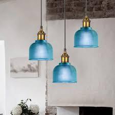 blue glass pendant lights kitchen