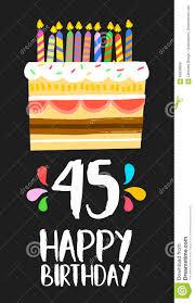 Torta De Cinco Anos Cuarenta De La Tarjeta 45 Del Feliz Cumpleanos