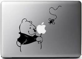 Amazon Com Winnie The Pooh Vinyl Decal Sticker Skin For Macbook Laptop In Black Computers Accessories