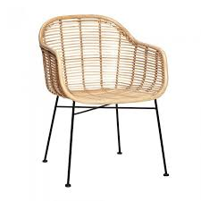 armchair in natural rattan with steel