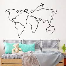 Creative Airplane Travel World Map Wall Decal Personalized Kids Room Vinyl Wall Sticker Creative Home Decoraton Bedroom Decals Wall Stickers Aliexpress