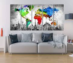Amazon Com Extra Large Wall Art Watercolor World Map Canvas Art Print Push Pin World Map Colorful Wall Decal For Bedroom Canvas Print 5 Pieces Travel Map 990 Handmade
