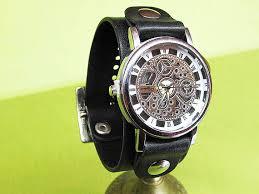handmade black leather cuff watch strap