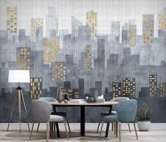 city silhouette wallpaper mural wallmur