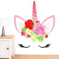 Unicorn Face With Flowers Mural Wall Sticker Girl S Etsy Wall Stickers Uk Wall Murals Wall Stickers Kids