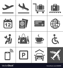 air travel icons royalty free vector