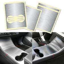 Xotic Tech 3pcs For Tesla Model 3 Armrest Cup Holder Box Panel Trim Vinyl Sticker Center Console Wrap Decal Metallic Brushed Silver Walmart Com Walmart Com