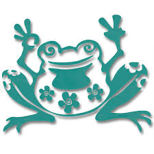 Peace Frog With Flowers Vinyl Cutout Window Sticker