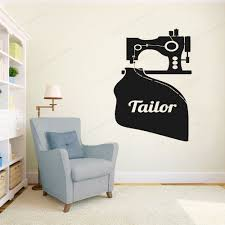 Tailor Shop Wall Decor Vinyl Stickers Switch Sewing Machine Wall Decal Window Decoration Removable Art Mural Hj346 Wall Stickers Aliexpress