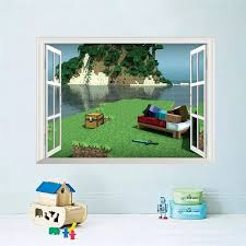 Vova Popular Game Minecraft Wall Stickers For Kids Room Home Decoration Diy Boys Bedroom 3d Window Decals Wall Mural Art Pvc Poster