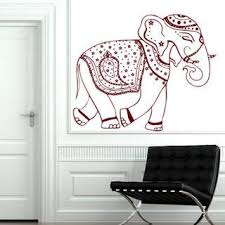 Shop Decorated Ganesha Indian Elephants Vinyl Sticker Animals Design Art Mural Decor Sticker Decal 33 X 39 Color Black Overstock 15383346