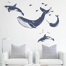 Whale Dolphin Wall Decal Sea Animals Wall Stickers