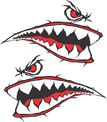 Amazon Com 10 Inch Wide X 6 6 Inch Tall World War 2 Flying Tiger Fighter Shark Teeth P 40 Red Motorcycle Sportbike Lawnmower Jet Ski Decal Sticker Set V2 Kitchen Dining