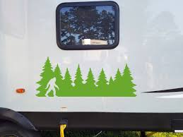 Bigfoot In Treeline V2 Vinyl Decal Pine Trees Forest Pnw Sasquatch Die Cut Sticker