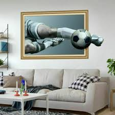 Modern 3d Soccer Ball Football Wall Sticker Decal Kids Bedroom Room Decor Sport For Sale Online Ebay