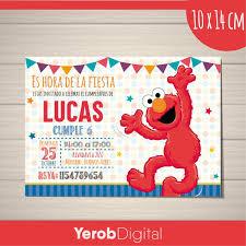Tarjetas Invitaciones Cumpleanos Elmo Pack X10uni 150 00 En