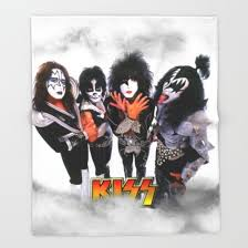 kiss rock band throw blanket by