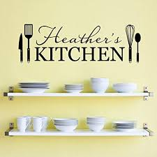 Amazon Com Personalized Name Kitchen Wall Decal Kitchen Utensils Wall Art Large Handmade
