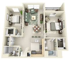 3d apartment plans with two bedrooms