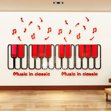 3d Wall Stickers For Kids Piano Key Home Decor Classroom Nursery School Vinyl Music Red Green Pink Cartoon Kids Room Self Adhesive