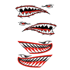 4 Piece Vinyl Shark Teeth Mouth Decals Stickers For Kayak Canoe Boat Red Wish