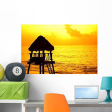 Beach Lifeguard Tower At Sunset Caribbean Wall Decal Wallmonkeys Com
