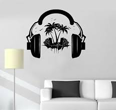 Vinyl Decal Headphones Sound Teen Room Music Decor Wall Stickers Mural Ig3522 Ebay