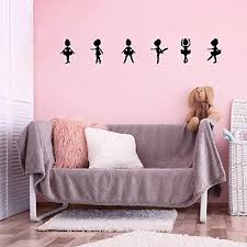 Amazon Com Set Of 6 Vinyl Wall Art Decal Little Ballerina Girls From 11 To 9 Each Cute Tiny Dancer Toddlers Design Stickers For Teens Home Bedroom Playroom Nursery Yoga